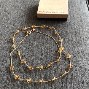 Banana Republic Long gold necklace w/ topaz beads